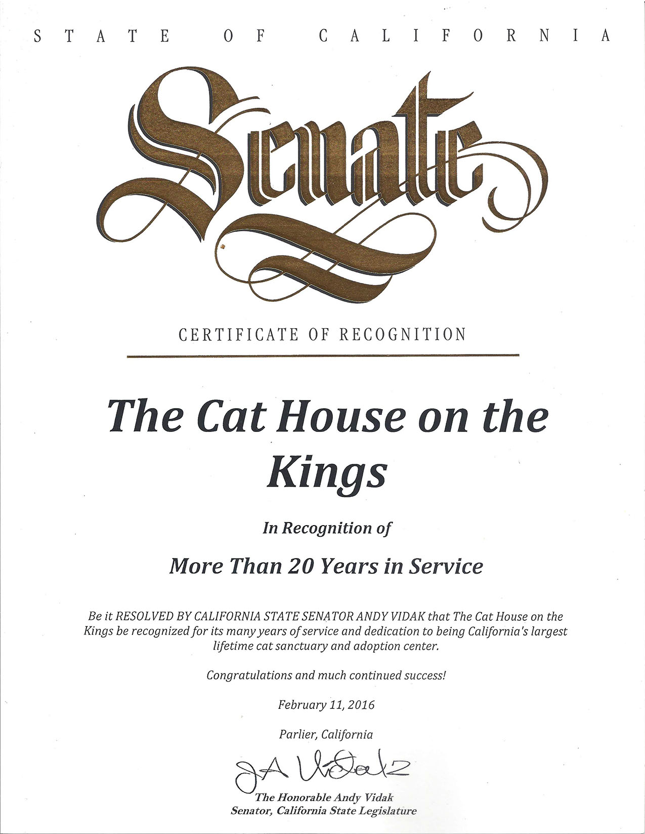 The Cat House awarded a Certificate of Recognition - Click to enlarge