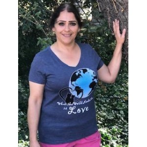 Women's V-neck, short sleeve, The World Needs Love Tshirt