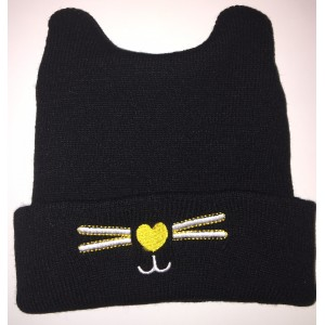 Black Baby Beanie with embroidery and ears